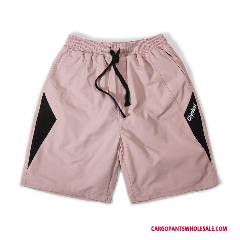 Cargo Shorts Herre Lyserød Splejsning Shorts Sommer Trendy Cargo Bukser