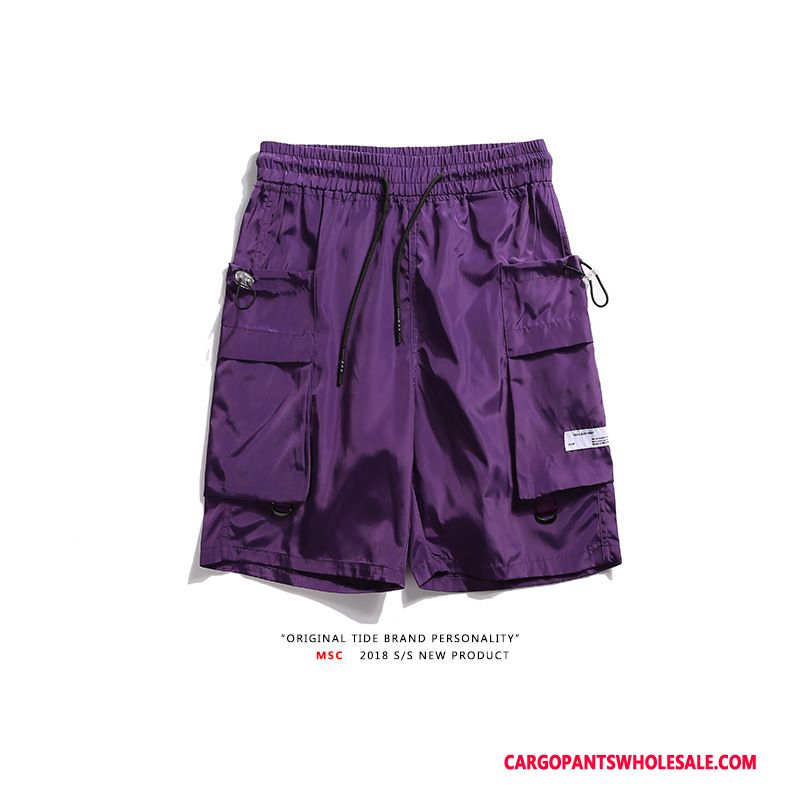 Cargo Shorts Men Purple Retro Loose Pants Europe Multi-pocket