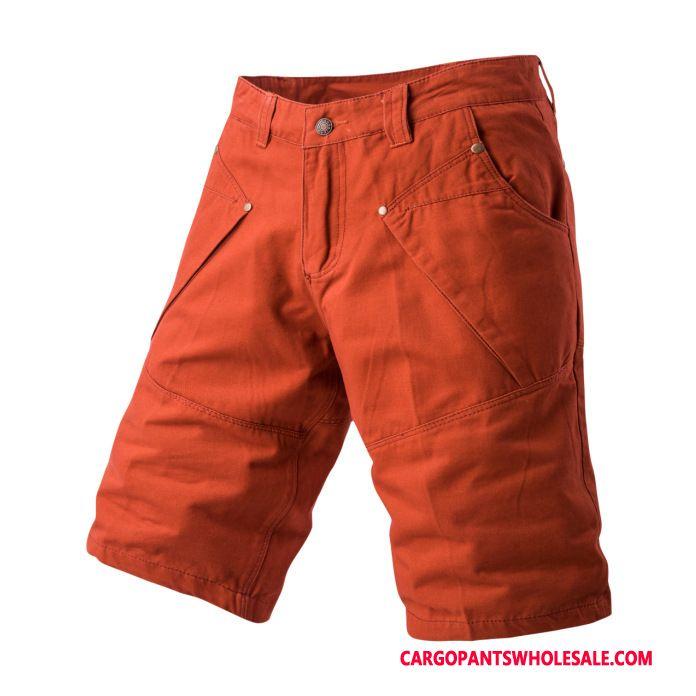 Cargo Shorts Herre Rød Slik Bukser Flere Lommer Mellem Store Størrelser
