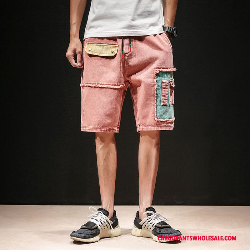Cargo Shorts Men Red Casual Pants Straight Shorts The New Loose