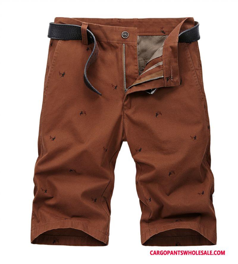 Cargo Shorts Herre Rød Sommer Store Størrelser Cargo Brede Bukser