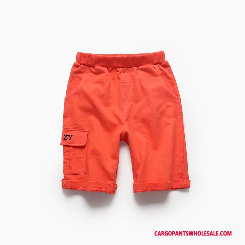 Cargo Shorts Men Red Orange Cargo Knitting Big Breathable Super