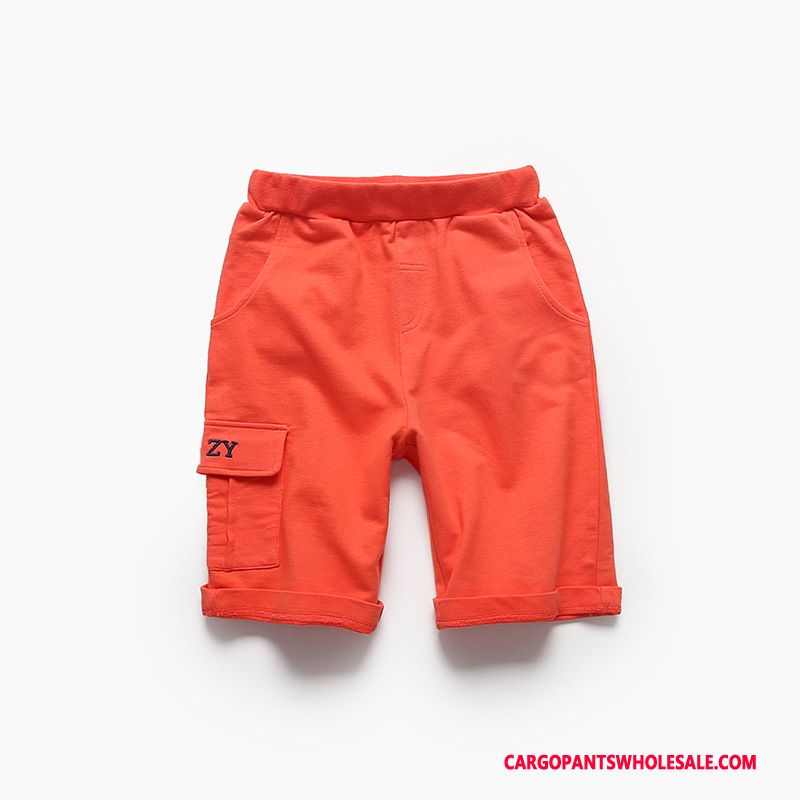 Cargo Shorts Men Red Orange Cargo Knitting Big Breathable Super