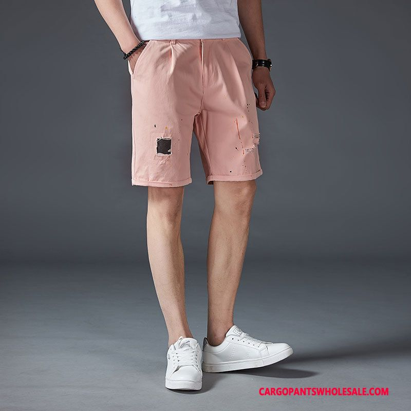 Cargo Shorts Men Red Powder Straight Thin Slim Fit Hole Pants