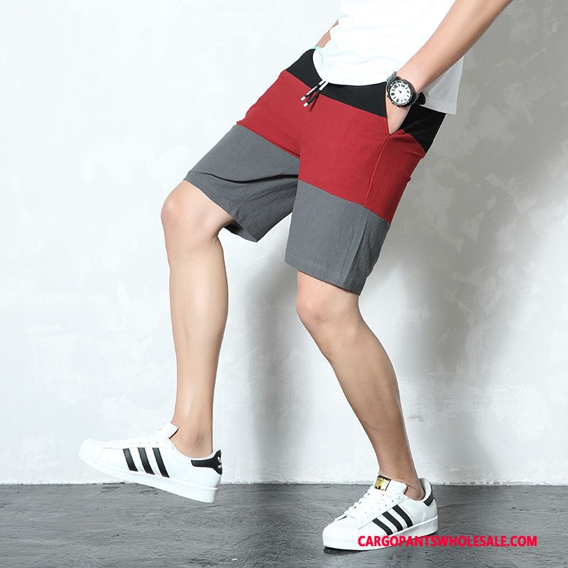 Cargo Shorts Men Red The New Pants Casual Pants Slim Fit Shorts
