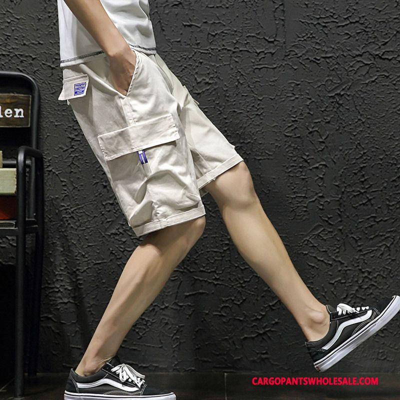 Cargo Shorts Men White Leisure Large Size Multi-pocket Pants Shorts
