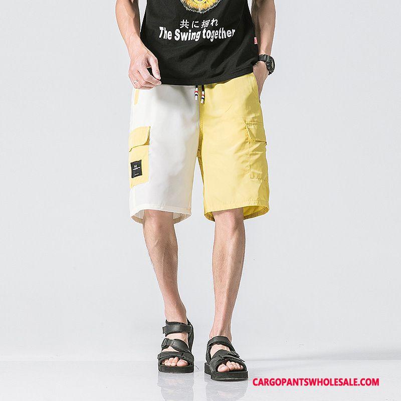 Cargo Shorts Men Yellow Green Shorts Summer Hipster The New Thin