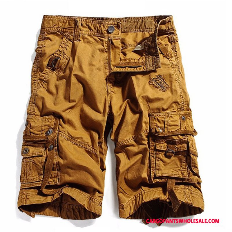 Cargo Shorts Men Yellow Large Size Leisure Cargo Loose Shorts