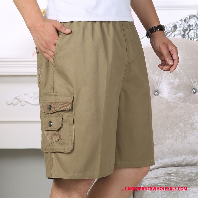 Cargo Shorts Men Yellow Leisure Cotton Shorts Large Size Fat