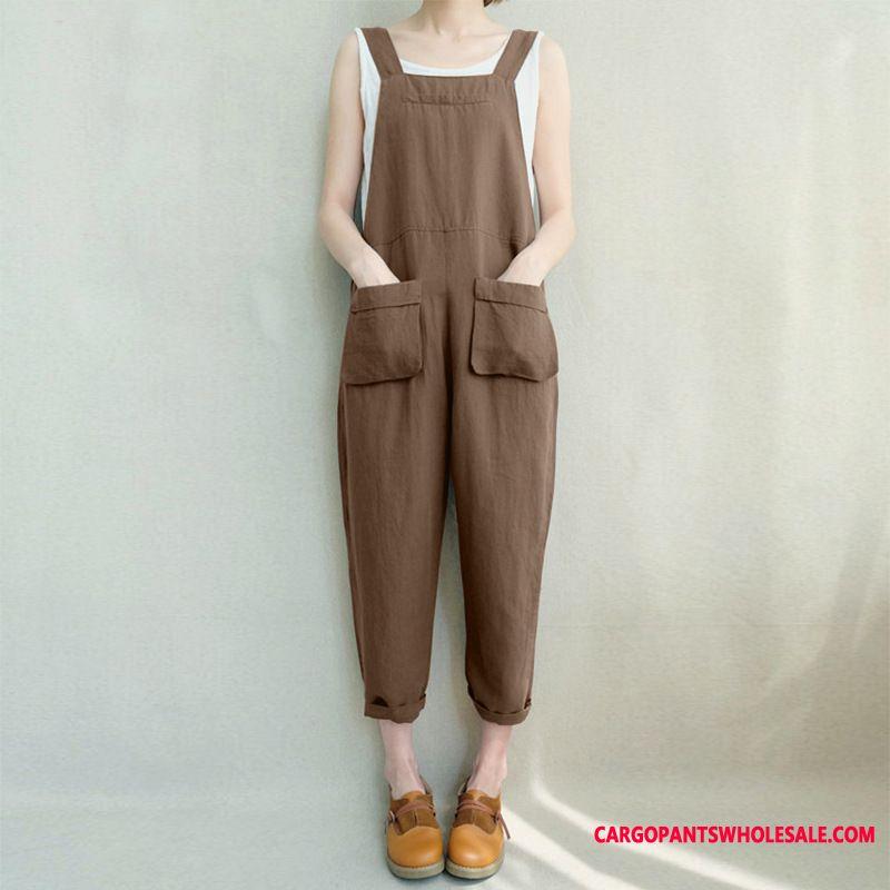 Bib Pants Female Loose Retro Sleeveless Long Pants