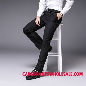 Dress Pants Male Black Pants Formal Wear Men Slim Fit Suit Straight