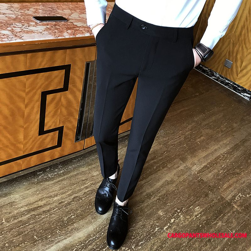 Dress Pants Male Green Straight Solid Color Men Juvenile Suit Fashion