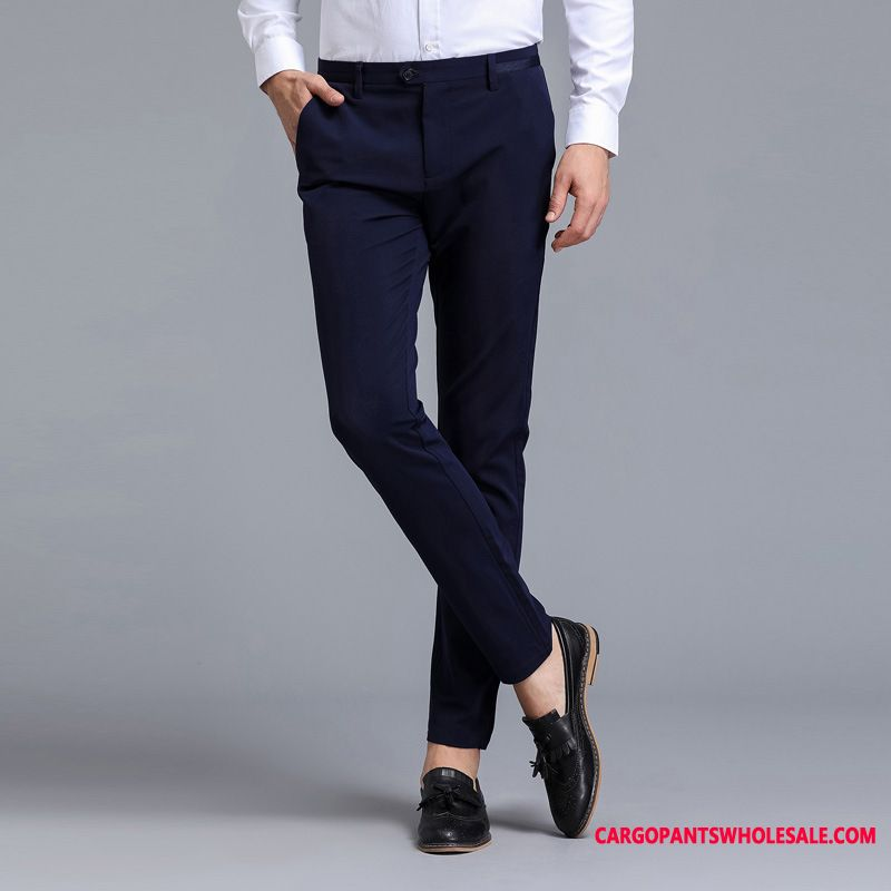 Dress Pants Male Green Summer Elastic Force Men Pants Slim Fit Thin Section