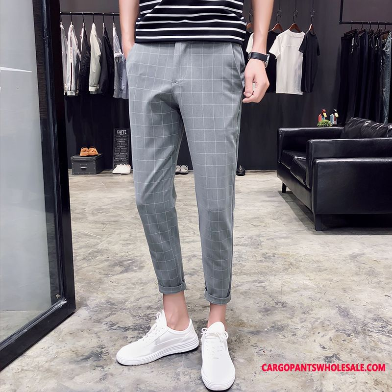 Dress Pants Male Green Trousers Lattice Men Suit Leisure Pants