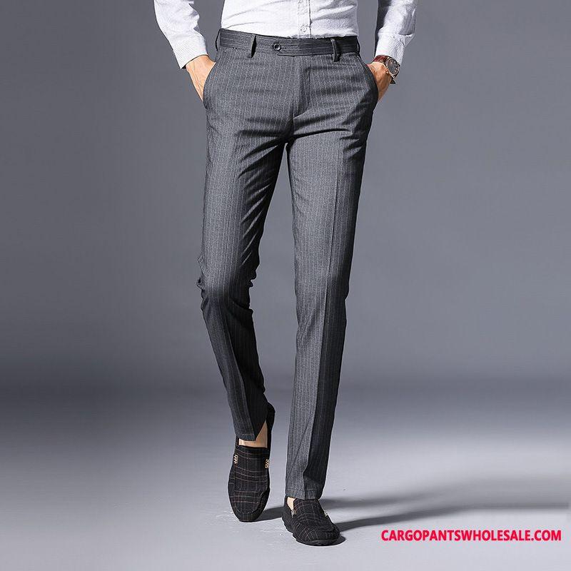 Habitbukser Herre Lige Bukser Linje Business Casual Bukser