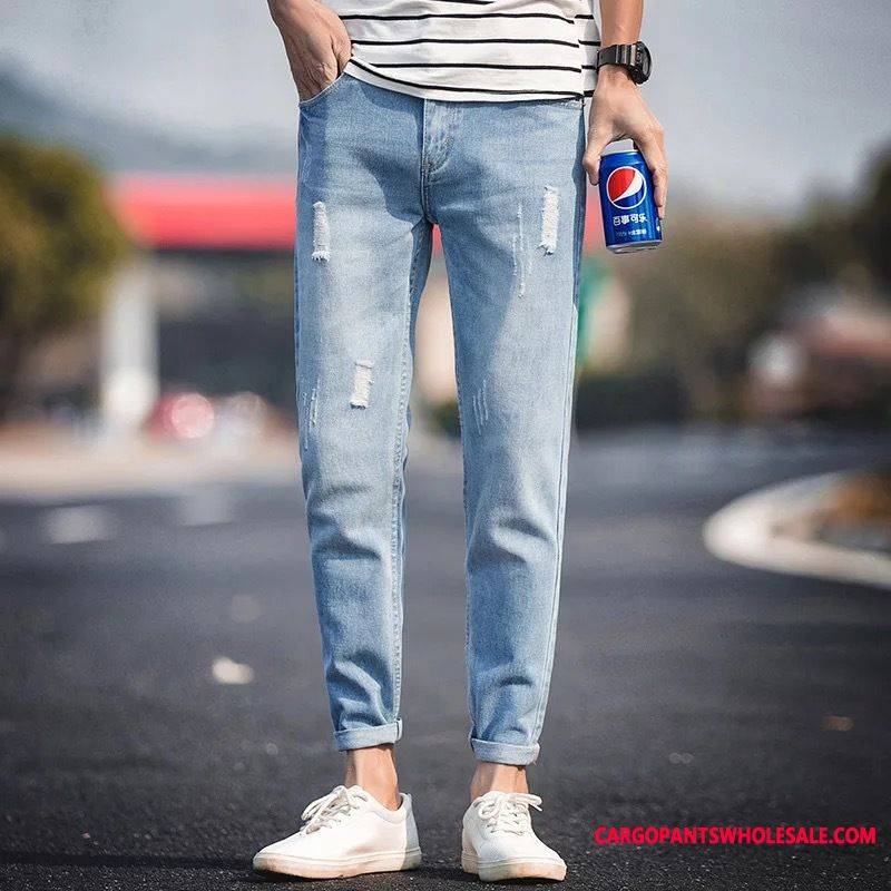 Jeans Male Hole Trend Jeans Summer Trousers