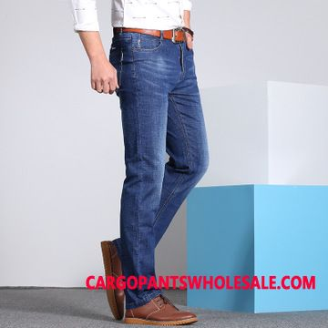 Jeans Male Light Blue Classic Brand Men Jeans Trousers Thin Section