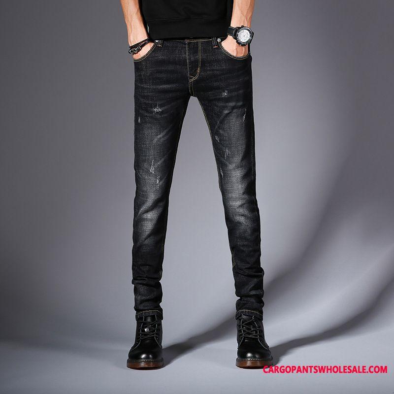 Jeans Homme Bleu Tout Droit Pantalon Chinos Jeans Tendance Printemps