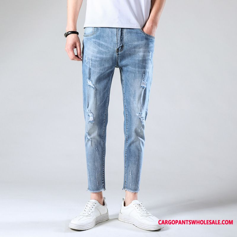 Jeans Men Light Blue Tide Summer Pants Small Thin Section