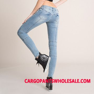 Jeans Women Light Zipper Low Waist Spring Elastic Force Locomotive