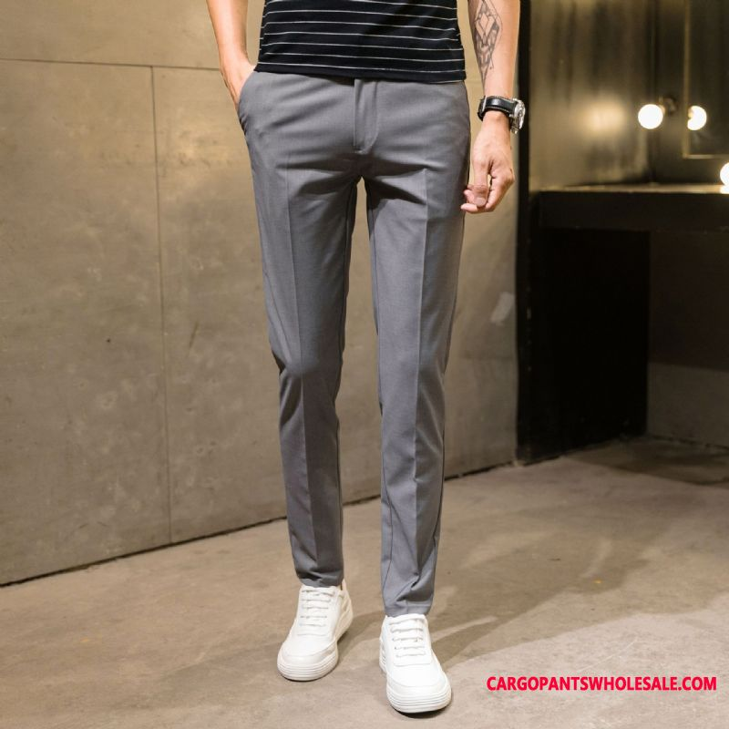Dress Pants Male Black Casual Pants Thin Section Men Slim Fit Small Autumn