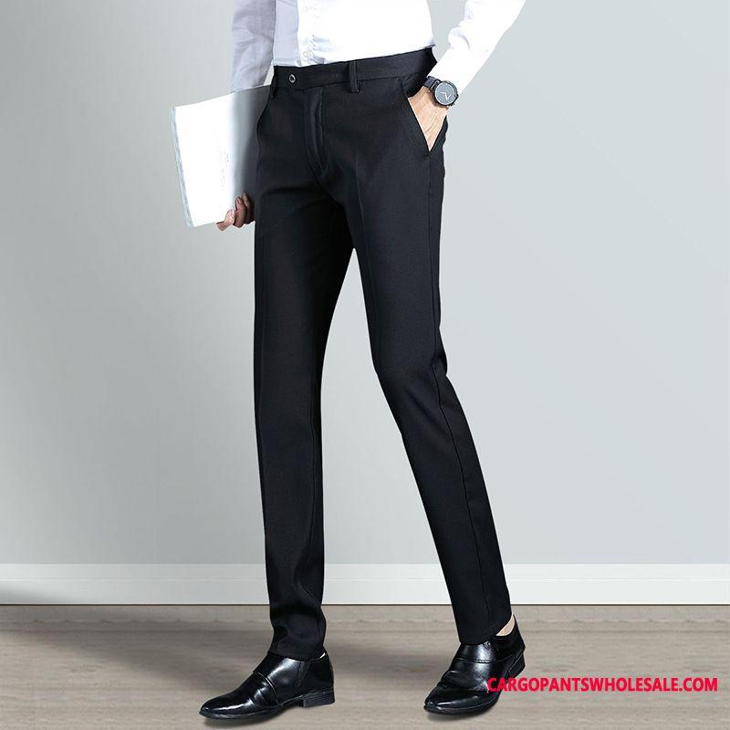 Dress Pants Male Green Business Casual Pants Men Elastic Force Wrinkle Resistance Slim Fit