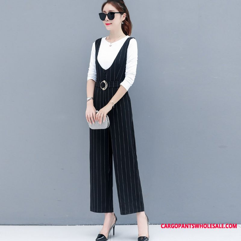 Bib Pants Women The New Straight High Waist Two-piece Suit Autumn
