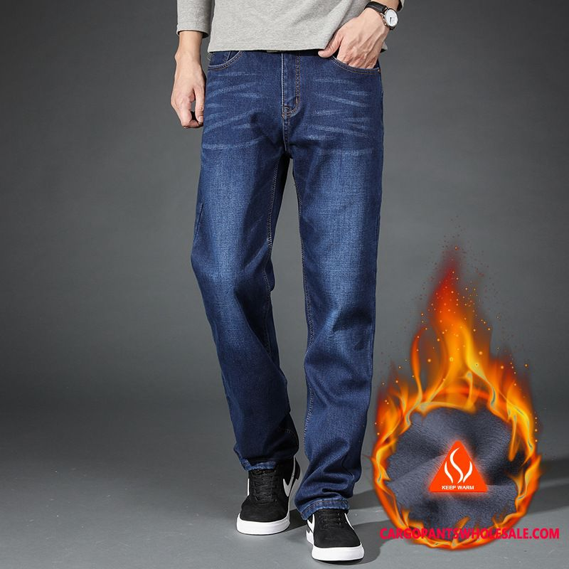 Jeans Male Deep Long Thicken Men High Waist Plus Velvet Middle Aged