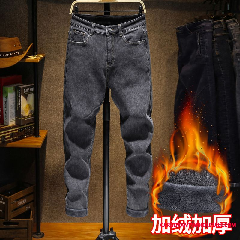 Jeans Male Green Jeans Slim Fit Elastic Force Ribbon Loose