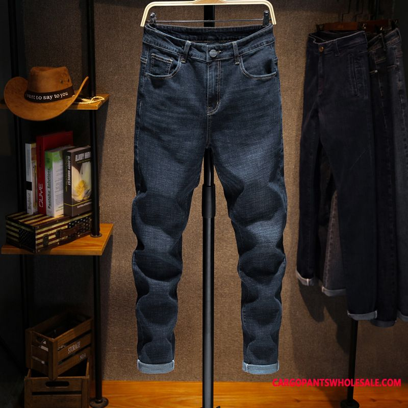 Jeans Male Green Winter Long Men Slim Fit Jeans Pants