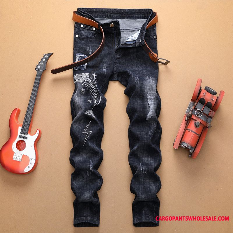 Jeans Men Black Style Pants Europe Jeans Embroidery