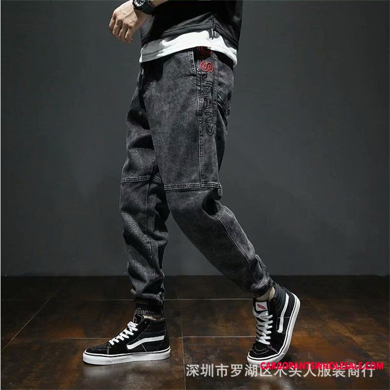 Jeans Male Green Large Size Loose Autumn The New Lace