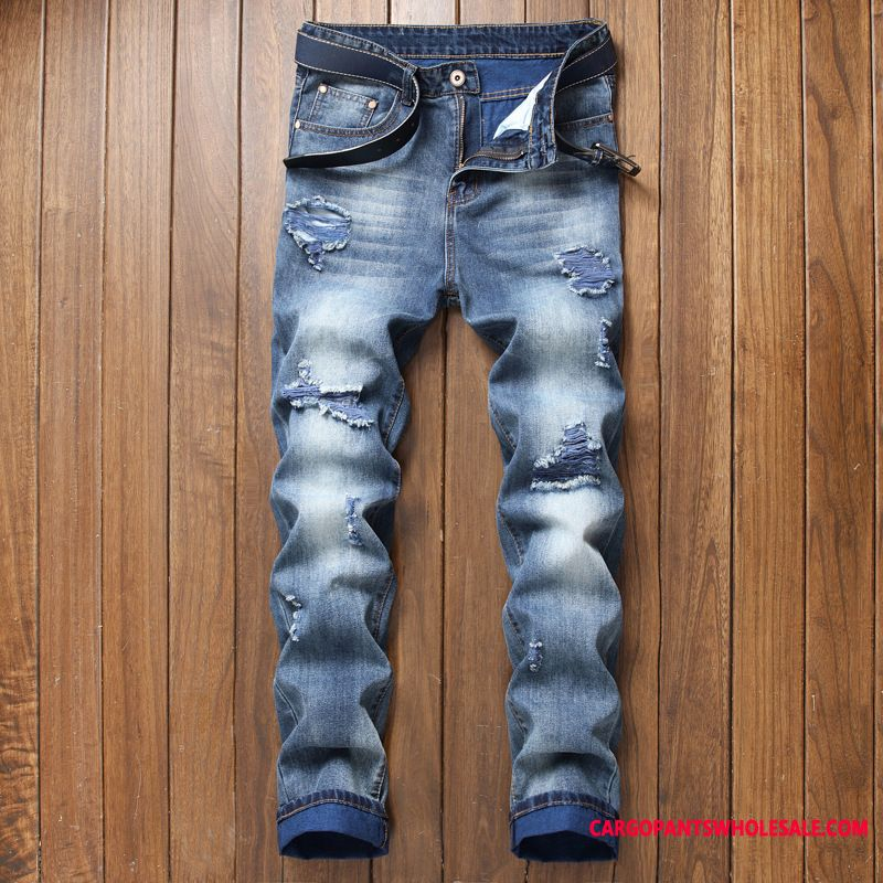 Jeans Men Europe Hole Jeans Pants Spring