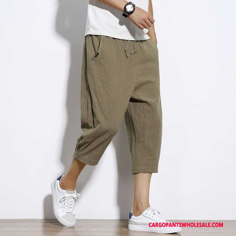 Capri Pants Male Army Green The New Beach Men Cotton And Linen Summer Shorts