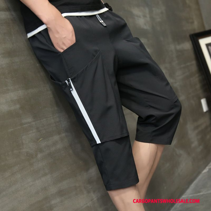Capri Pants Male Black Green All Match Casual Pants Men Juvenile Harlan Capri Pants