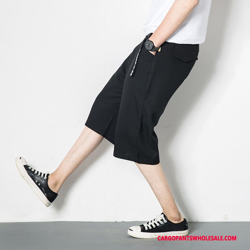 Capri Pants Male Black Harlan Linen Men Loose Thin Section Tide