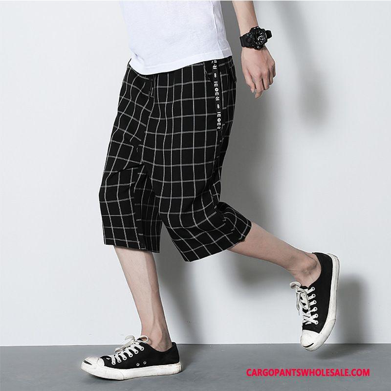 Pantalones Capri Masculino Negro Patron Verano Hombre Cuadros Sueltos Nuevo Venta