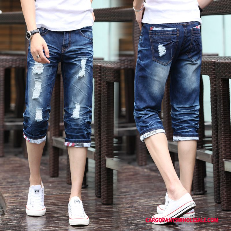 Capri Pants Male Blue Green Slim Fit Summer Tide Leisure Jeans