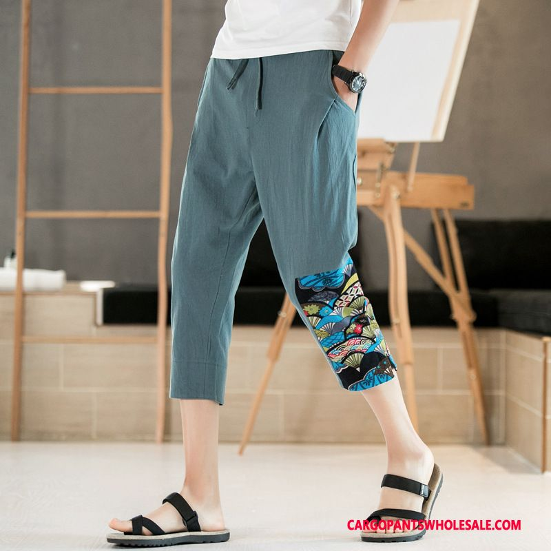 Capri Pants Male Blue Summer The New Shorts Harlan Casual Pants