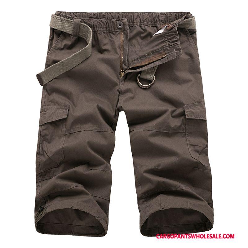Capri Pants Male Brown Europe Large Size Men Cargo Medium Shorts