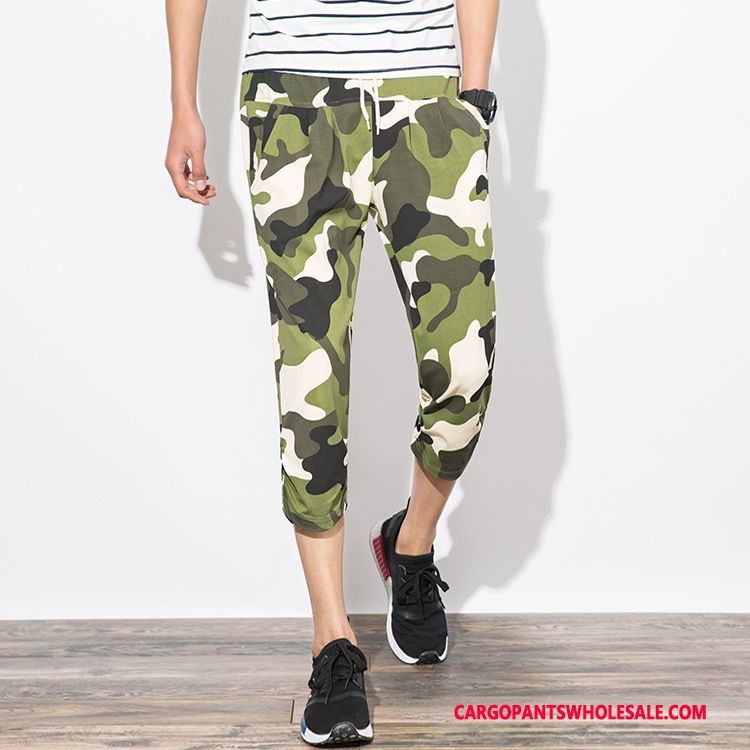 Capri Pants Male Camouflage Green Slim Fit All Match Trend Sweatpants Cotton