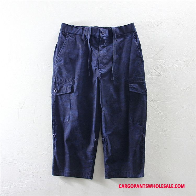 Capri Pants Male Camouflage Navy Blue Loose The New Cargo Pants Summer Cotton