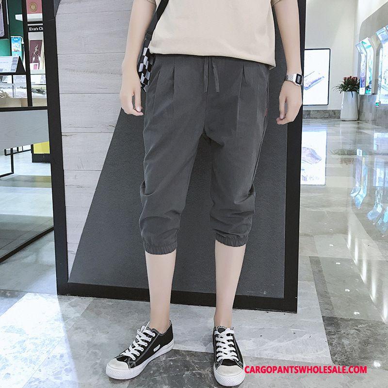 Capri Pants Male Deep Gray Summer Trend Men Harlan Pants Motion
