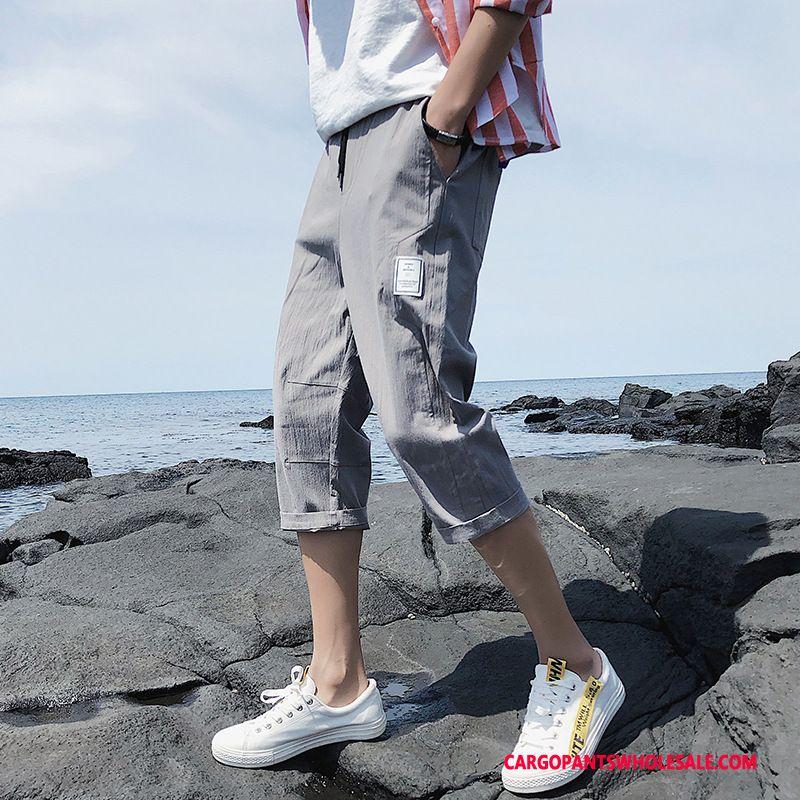 Capri Pants Male Gray Capri Pants Summer Leisure The New Trend
