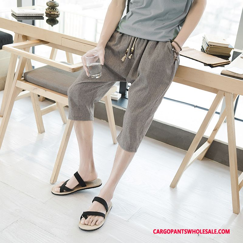 Capri Pants Male Gray Large Size Loose Men Linen Capri Pants The New
