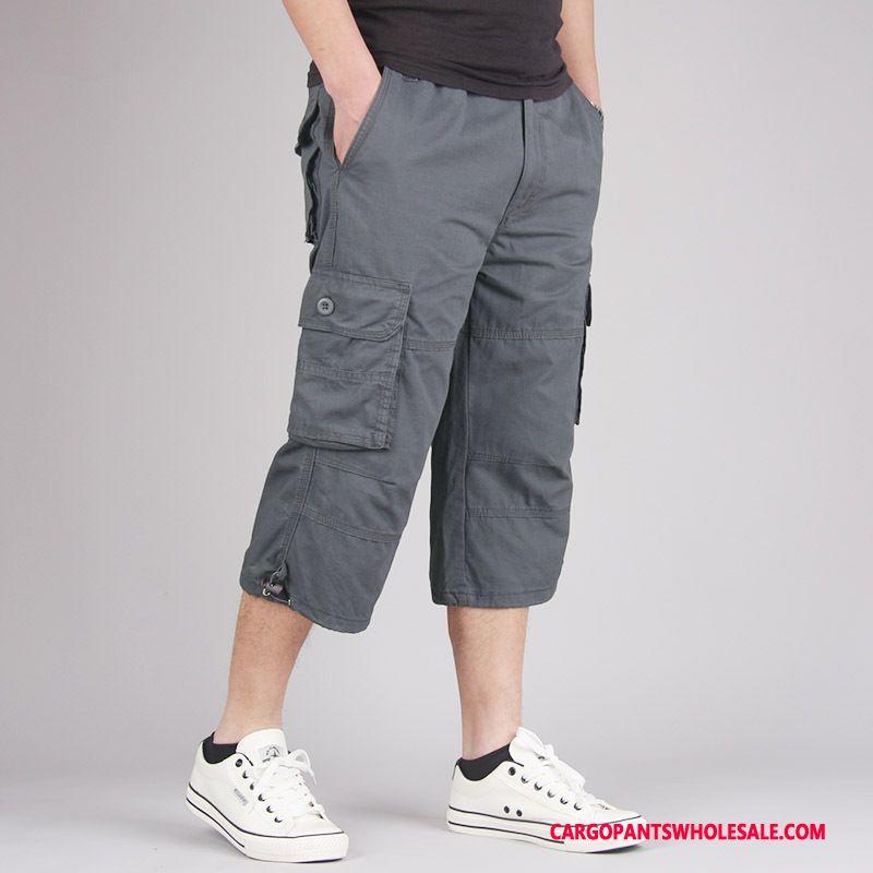 Capri Pants Male Gray Pants Casual Pants Men Cargo Pants Multi-pocket Plus Size