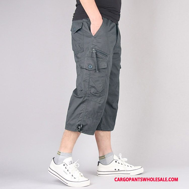 Spodnie Capri Męskie Zielony Szary Środkowa Stan Casual Męskie Spodnie Dresowe Cargo Outdoor