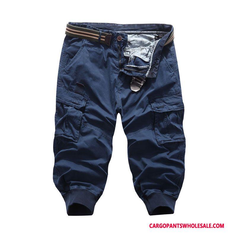 Capri Pants Male Green Multi-pocket Leisure Cargo Capri Pants Shorts
