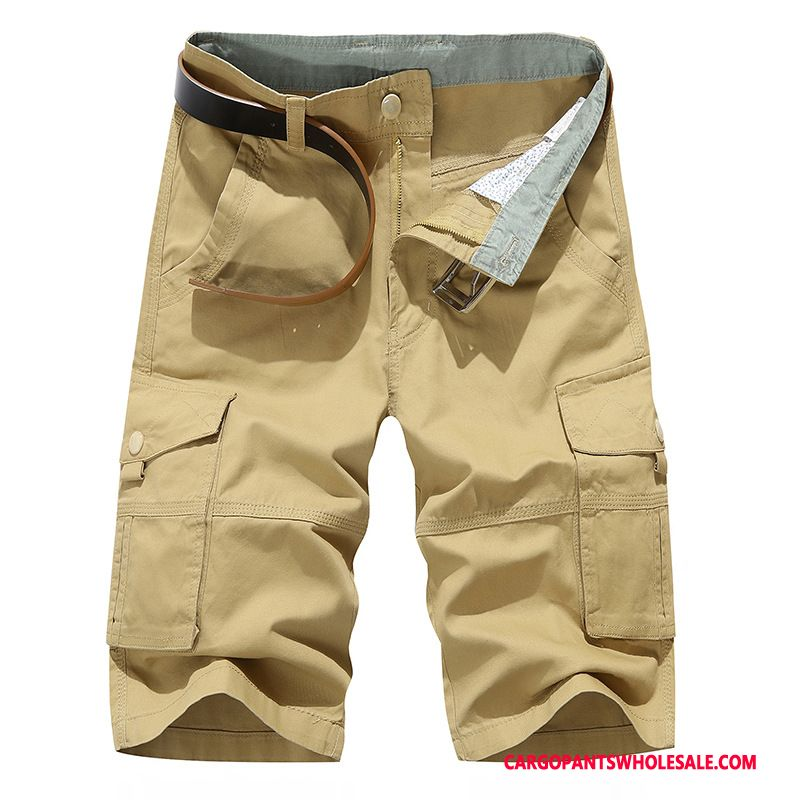 Capri Pants Male Khaki Outdoor Large Size Summer Cargo Loose