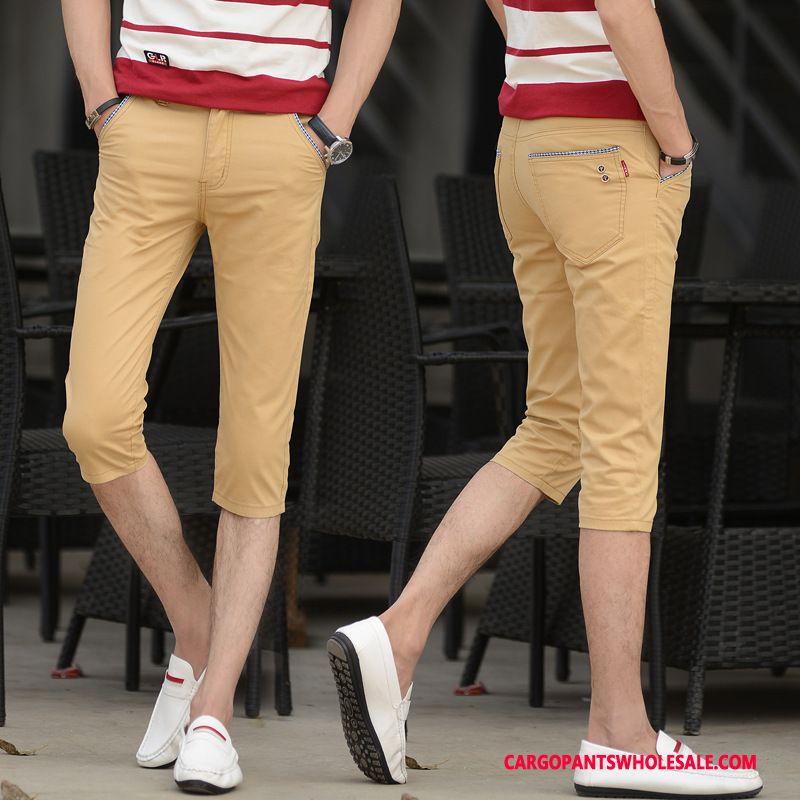 Capri Pants Male Khaki Shorts All Match Summer Pants Trend